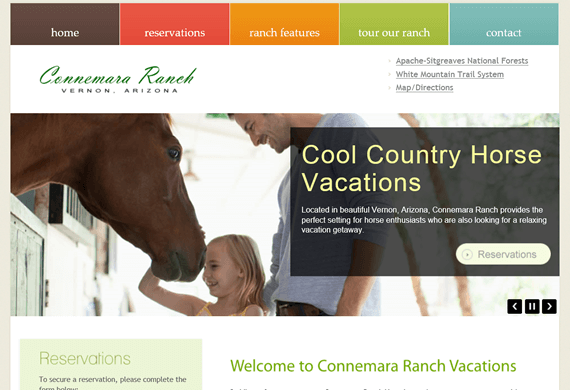 Screenshot of New Website for Connemara Ranch