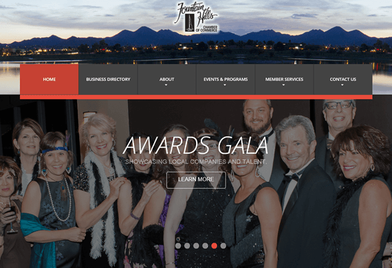 Screenshot of New Website for the Fountain Hills Chamber of Commerce