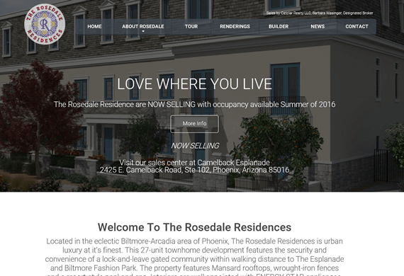 Screenshot of Rosedale Residences new Homepage