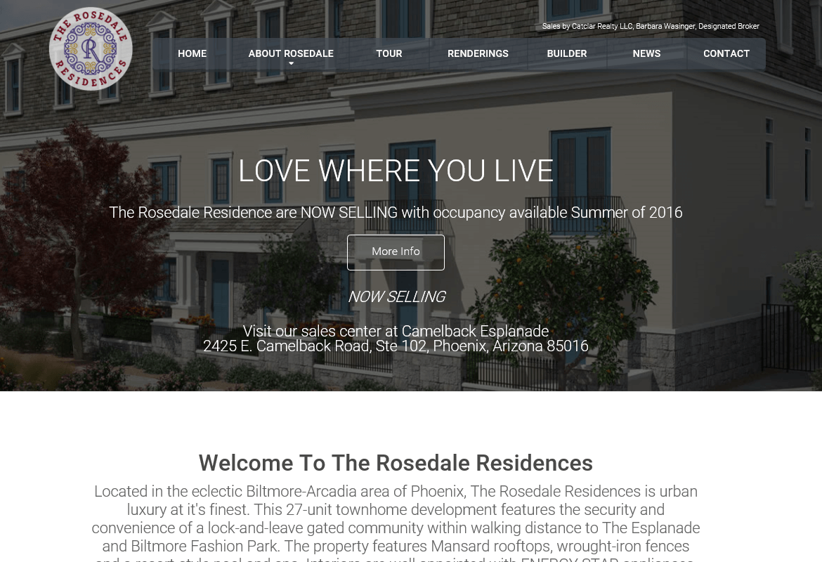 Screenshot of new home page designed for Rosedale Residences
