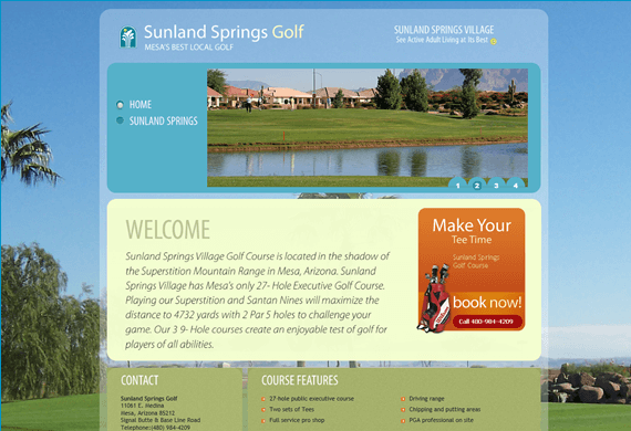 Screenshot of New Website for Sunland Springs Golf Course